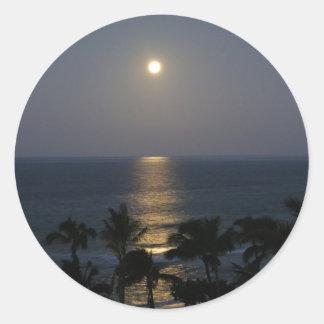 マウイMoonsetの満月のステッカー ラウンドシール