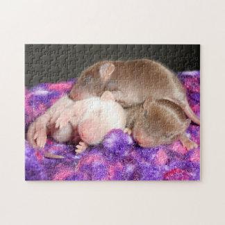 マウスのパズル:  3つのベビーのネズミ ジグソーパズル