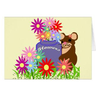 マウスの花の瓶の空白のなカード カード