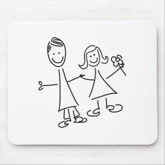 マウスパッドを引いている手に手をとって恋人のカップル マウスパッド