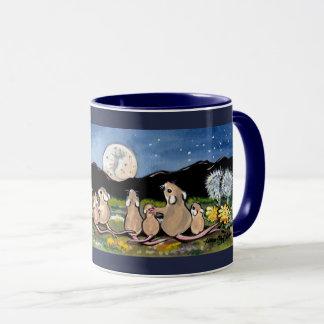 マウス家族の監視月デザイナー濃紺のマグ マグカップ