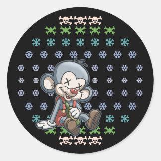 マウス新年の ラウンドシール