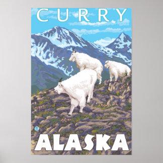 マウンテンゴート場面-カレー、アラスカ ポスター