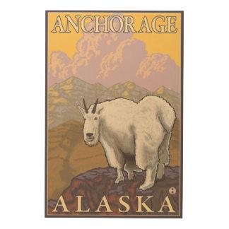 マウンテンゴート-アンカレッジ、アラスカ ウッドウォールアート