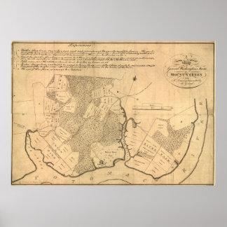 マウントバーノンのプランテーション(1801年)のヴィンテージの地図 ポスター