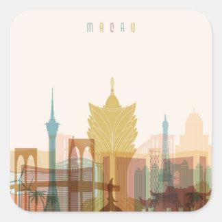マカウの中国|都市スカイライン スクエアシール