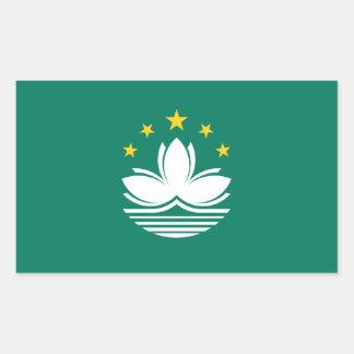 マカウまたはマカオの旗。 中国か中国語 長方形シール