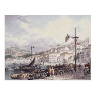 、マカオグランデ、Pria c.1850 (色のlitho) ポストカード