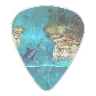 マカジキが付いている幻想の世界 パールセルロイド ギターピック