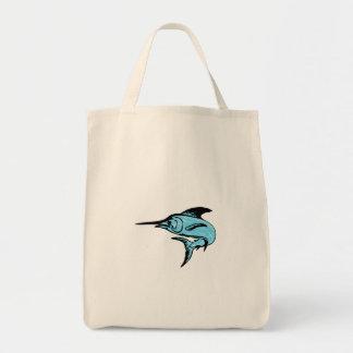 マカジキの魚の跳躍のスケッチ トートバッグ