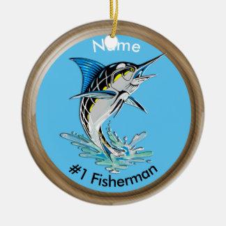 マカジキ#1の漁師の跳躍 セラミックオーナメント