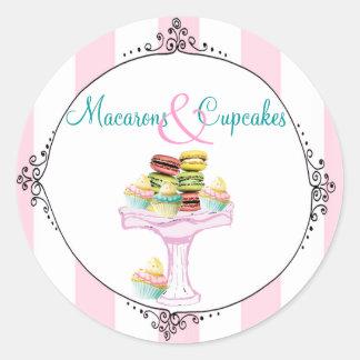 マカロンおよびカップケーキのステッカーまたはシール ラウンドシール
