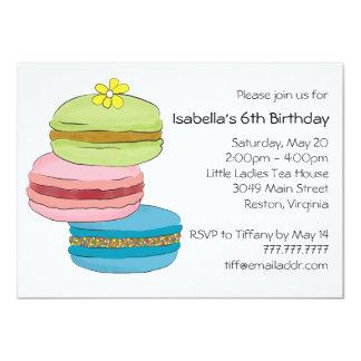 マカロンのMacaroonのクッキーの誕生日のお茶会 カード