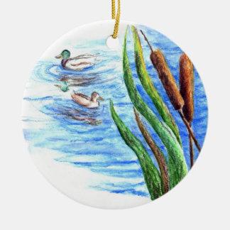 マガモおよびネコヤナギ-水彩画の鉛筆 セラミックオーナメント