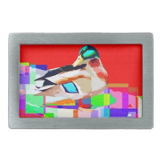 マガモのアヒルのポップアートのポートレートの絵画 長方形ベルトバックル