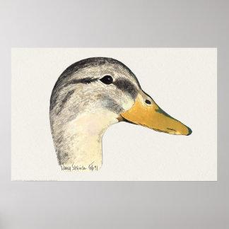 マガモのアヒルの雌鶏の水彩画 ポスター