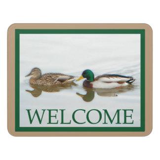 マガモのアヒル-歓迎 ドアサイン