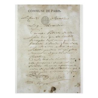 マキシミリアンde Robespierreからの呼出し ポストカード