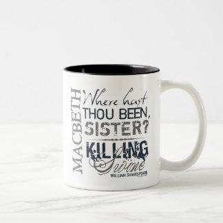 マクベスの殺害のブタの引用文 ツートーンマグカップ