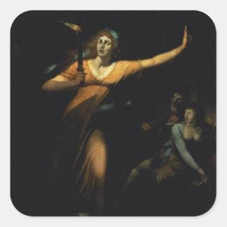 マクベスSleepwalking 1783年女性(キャンバスの油) スクエアシール