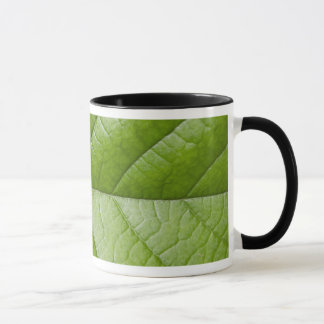 マクロ写真の緑の葉 マグカップ
