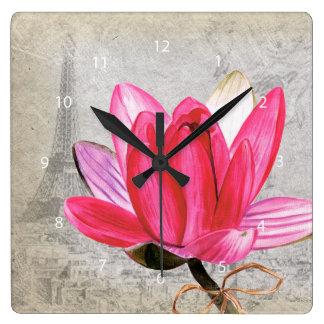 マクロ花のはす スクエア壁時計