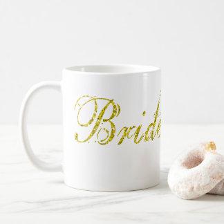 マグがある模造のな金ゴールドのグリッターの花嫁 コーヒーマグカップ