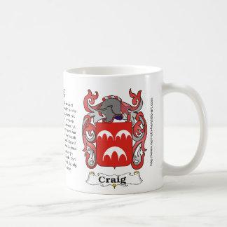 マグのクレイグ家族の紋章付き外衣 コーヒーマグカップ