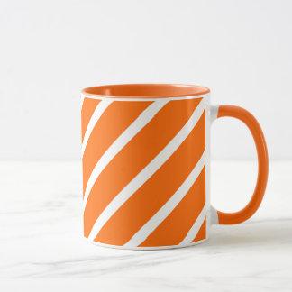 マグのストリップの斜めのオレンジ白 マグカップ