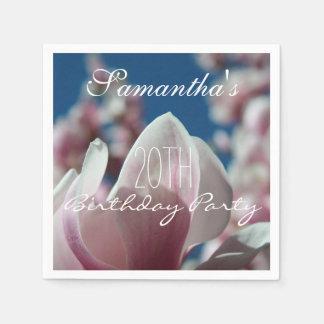 マグノリアの春の第20誕生会の紙ナプキン スタンダードカクテルナプキン