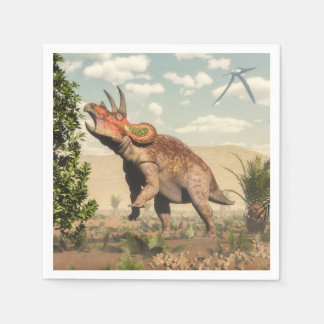 マグノリアの木のトリケラトプスの食べ物- 3Dは描写します スタンダードカクテルナプキン