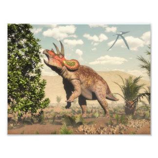 マグノリアの木のトリケラトプスの食べ物- 3Dは描写します フォトプリント