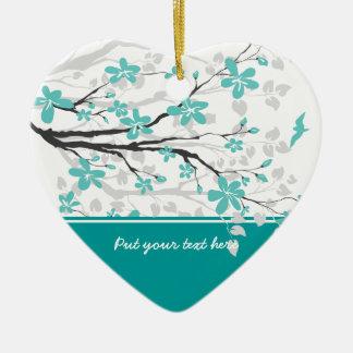 マグノリアの枝および花のカスタムなオーナメント セラミックオーナメント