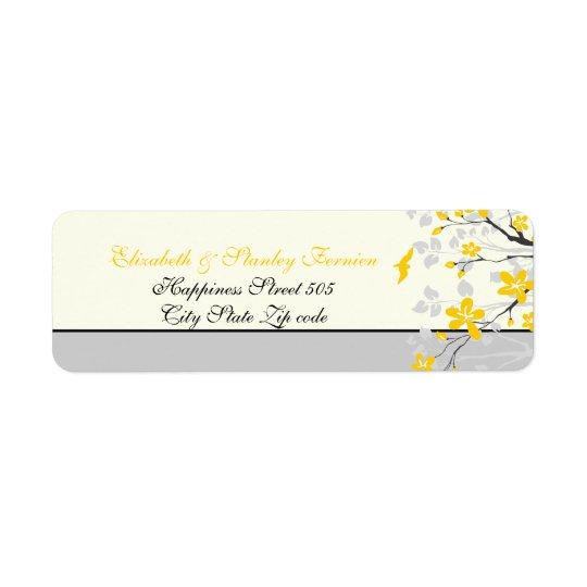 マグノリアの枝黄色、灰色の結婚式のカスタムなラベル 返信用宛名ラベル