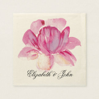 マグノリアの水彩画の花の結婚式 スタンダードカクテルナプキン