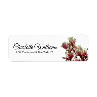 マグノリアの白い最小主義のエレガントでモダンな花柄 ラベル