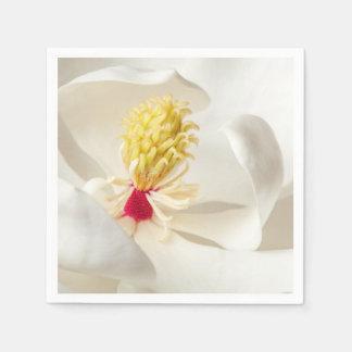 マグノリアの花の白いマグノリアの花柄の花 スタンダードカクテルナプキン