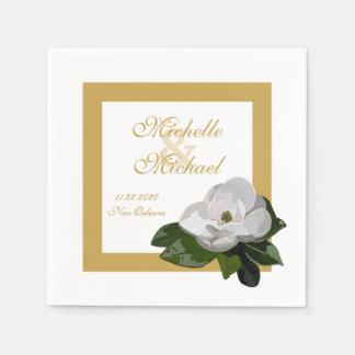 マグノリアの花の結婚式のイベント スタンダードカクテルナプキン