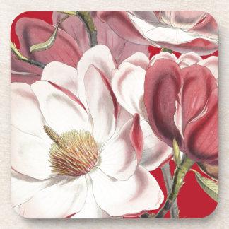 マグノリアの花柄の花のコルクのコースター コースター