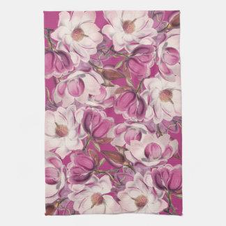 マグノリアの花柄の花の花の台所タオル キッチンタオル