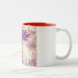マグ、ヴィンテージ、すみれ色花 ツートーンマグカップ