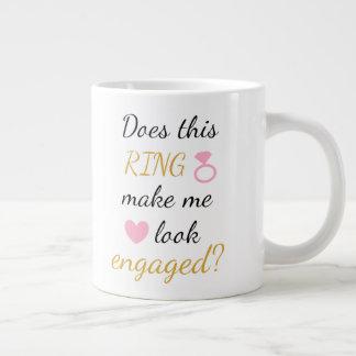 マグ-婚約指輪-ピンク ジャンボコーヒーマグカップ