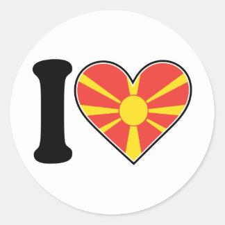 マケドニアのハートの旗 ラウンドシール