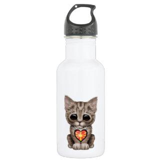 マケドニアの旗のハートのかわいい子ネコ猫 ウォーターボトル