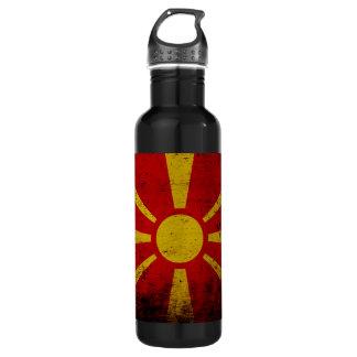 マケドニアの黒くグランジな旗 ウォーターボトル