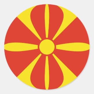 マケドニアFisheyeの旗のステッカー ラウンドシール