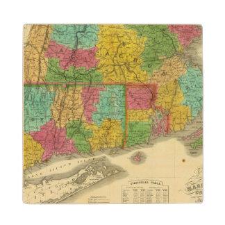 マサチューセッツおよびコネチカットの地図 ウッドコースター