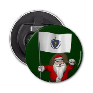 マサチューセッツの旗を持つサンタクロース 栓抜き