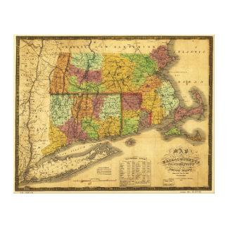 マサチューセッツコネチカットおよびロードアイランドの地図 キャンバスプリント