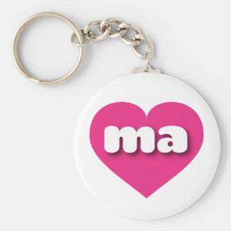 マサチューセッツショッキングピンクのハート-小型愛 キーホルダー
